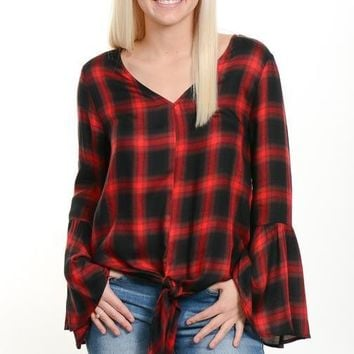 Red Plaid Bell Sleeve Blouse