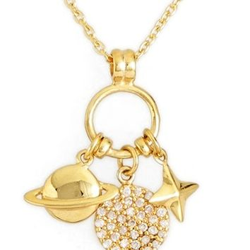 Women's Argento Vivo 'Cluster Charm' Pendant Necklace - Gold/ Pave