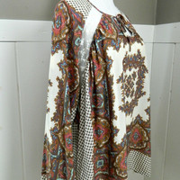 Cream Jacquard Tunic Top