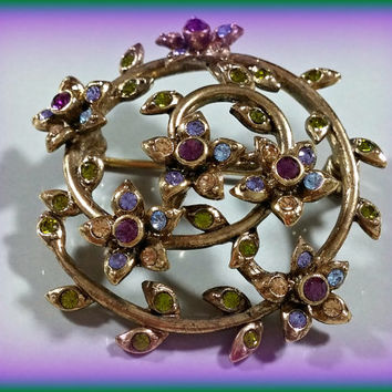 MONET Rhinestone Brooch Brass Spiral Floral Purple Violet Green Gold Rhinestones Petite Flowers Leaves Dainty but Durable Lovely Lil Pin