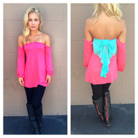 Pink Off Shoulder Mint Bow Long Sleeve Top