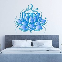 "Lotus Wall Decal Mandala Flower Full Color Murals Ornament Geometric Colorful Patterns Namaste Vinyl Decals Stickers Bohemian Decor Art EN21 (17"" Tall x 19"" Wide)"