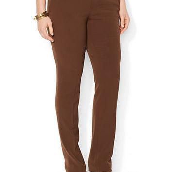 Lauren Ralph Lauren Plus Suede Trim Straight Pant