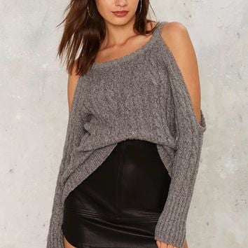 Nasty Gal Take It Away Cold Shoulder Sweater