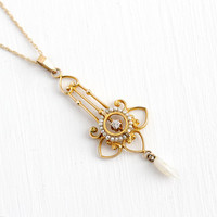 Antique Lavalier Necklace - 10k Yellow Gold Diamond & Seed Pearl Pendant - Vintage Edwardian Fine 1900 Floral Flower Pearl Strand Jewelry