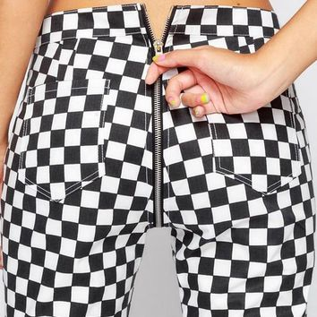 Black Plaid Zipper High Waisted Fashion Long Pants