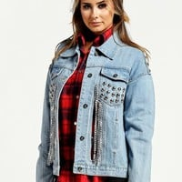 Denim Chain Detailed Jacket
