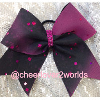 Cheer - Pink and Black Sparkle Cheerleading Dance Ribbon