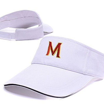 JIAQ Maryland Terrapins Logo Adjustable Visor Cap Embroidery Sun Hat Sports Visors White