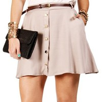 Pre-Order Taupe Belted Button Skater Skirt