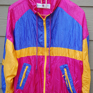Vintage 80s Bright Fuchsia Purple & Yellow Baggy Nylon Windbreaker Windsuit Parachute Jacket Size Petite Large