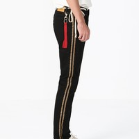 Gold Side Stripe Washed Black Jeans