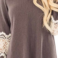Brown Ribbed Knit Tunic Dress with Cream Crochet Detail