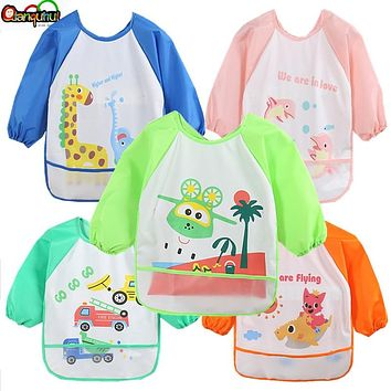 Cartoon Baby Bibs Waterproof Infants Long Sleeve Apron Waterproof Toddler Feeding Bibs Burp Cloths Children Painting Clothes