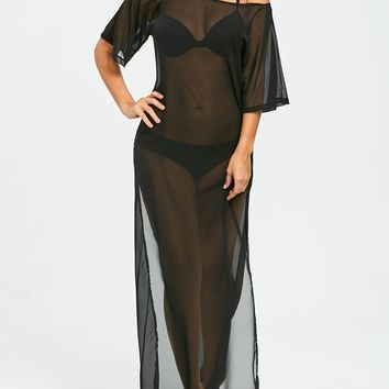 Sheer Long Chiffon Slit Cover Up Dress