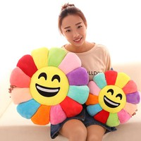 Flower Shape Decorative Pillows Emoticonos Chair Cushion,Emoji Office Seat Cushion,Smiley Face Throw Pillows Cushions Home Decor