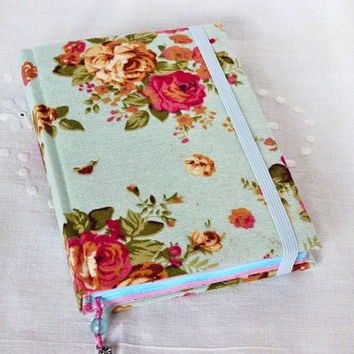 A6 A5 personalized floral handmade notebook with elastic Fabric covered Color sheet journal Girl's diary Floral fabric journal Gifr for her