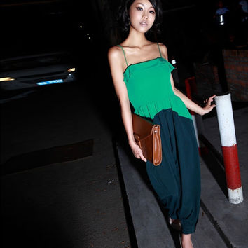 Women Ladies Western Style Spliced Color Jumpsuits Playsuit Romper Long Pants Trousers