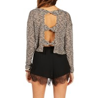 BlackTan Bow Back Boxy Top