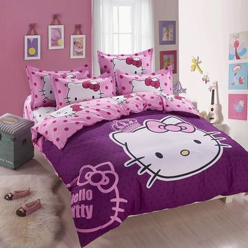 2017 new  Home textiles Cartoon purple Hello kitty bed linen for children King size  Quilt Duvet Cover Pillow Bedding Sets