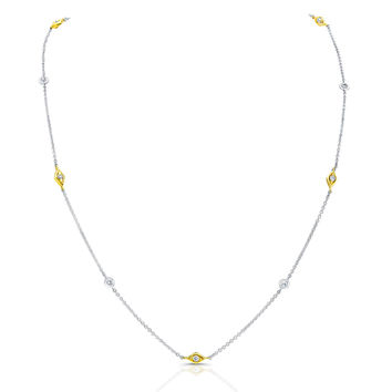 Ladies 14kt Two-tone diamond by the yard necklace 1.33 ctw G-SI2 diamond quality