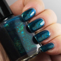 Acid Ocean - 15ml full - deep blue/aqua with green flakies & shimmer - nail polish by Indigo Bananas