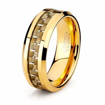 Yellow Gold Carbon Fiber Ring Mens Tungsten Ring 8mm 18k Tungsten Carbide Male Carbon Fiber Band Beveled Edges High Polished