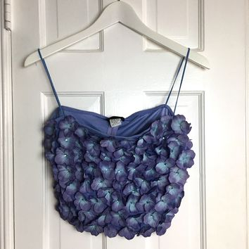 Vintage 80s women's lilac sheer crop top with flowers sz M