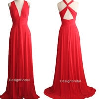 15% OFF 2014 Latest V-neck Sexy Evening Dress with Train,Sexy Criss-cross Red Evening Prom Gown,Black/ White Fashion Ball/Party Dresses