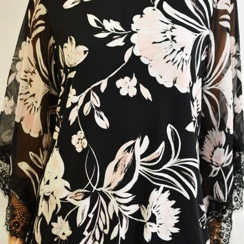 Alfani Women Angel Sleeve Lace Trim Black Floral Blouson Blouse Top Plus 0X