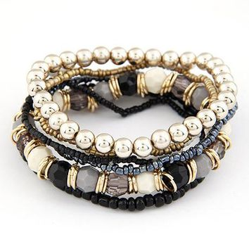 Bohemian Ivory and Gold Theme Multi Layer Bracelet - 6 Color Variants
