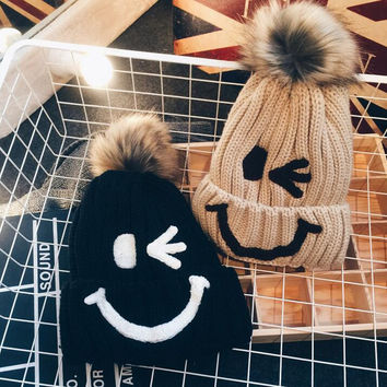 Handmade Smiley Face Fur  Knit Thick Slouch Beanie Winter Warm Cap Hat - Gift -69