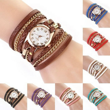 Chic Fashion Women Girl Rhinestone Faux Leather Sling Chain Quartz Wrist Watch [7899752391]