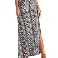 Tribal Print Single Slit Maxi Skirt by Charlotte Russe - Black/Ivory