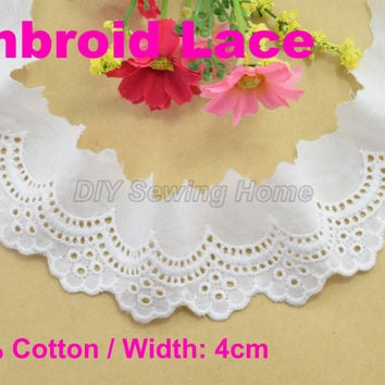 4cm width 100% Cotton embroid lace sewing ribbon guipure trim fabric warp knitting DIY Garment Accessories free shipping#3169