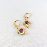 Vintage 14K Gold Pink Tourmaline Heart Earrings Leverback Dangle October Birthstone Pink Gemstone Sweetheart Bridal Yellow Gold Fine Jewelry