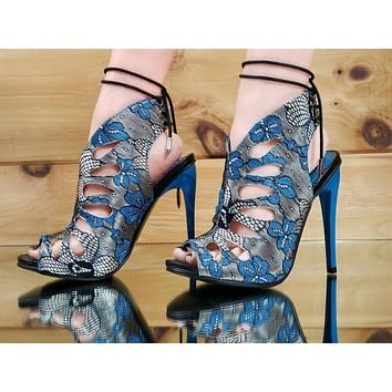 Alba Viva Blue Floral Slingback Tear Drop Stiletto 4.5 High Heel Shoes 5.5 - 7.5
