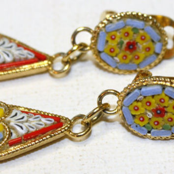 Vintage Micro Mosaic Dangle Earrings by patwatty on Etsy