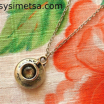 Coffee Cup Antique Silver Necklace - Tea Cup Pendant Charm