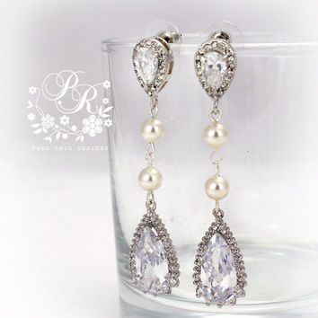Wedding Earrings Swarovski Pearl Zirconia Earrings Wedding Jewelry Wedding Accessories