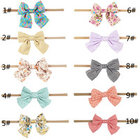 10pcs/lot Handmade Kids Bow Headbands dot strip nylon environmental hairwear Fashion Soft Baby Girls Boutique Hair Accessories