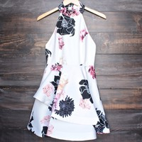 after party floral dress - white