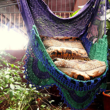 Tricolor Sitting Hammock Hanging Chair Natural Cotton by hamanica