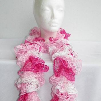 Free Shipping in U.S.A - Tutu - Crochet Ruffle Scarf - Cancer Awareness Scarf - Cancer Survivor Scarf - Crochet Sashay Scarf - Ruffle Scarf