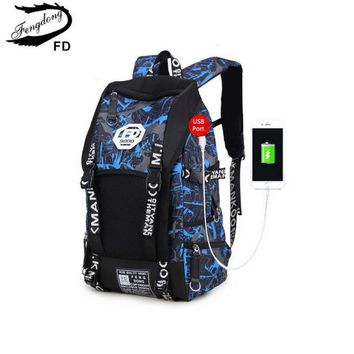 School Backpack FengDong boys school bags big blue camouflage backpack for boy men travel bags male student laptop bag 15.6 13 14 girl schoolbag AT_48_3