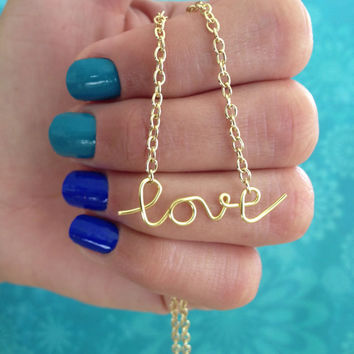 SALE! Dainty Love Necklace in Cursive Wire Writing in Silver or Gold Colors