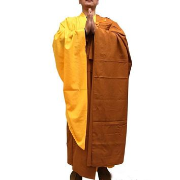 unisex buddhist monks cassocks lay meditation Buddhism master robe Shaolin monk QIYI zen clothing blessing suits yellow