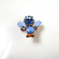 Vintage Brooch Jelly Belly Bumble Bee Blue Rhinestone Blue Milk Glass Collectible Gift Resale Item 1538
