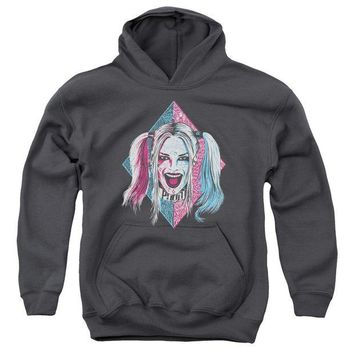 ac spbest Suicide Squad - Puddin Portrait Youth Pull Over Hoodie