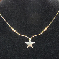 """14k Solid Yellow Gold Star Pendant Chain and Beads Necklace 17"""" 1.42g"""